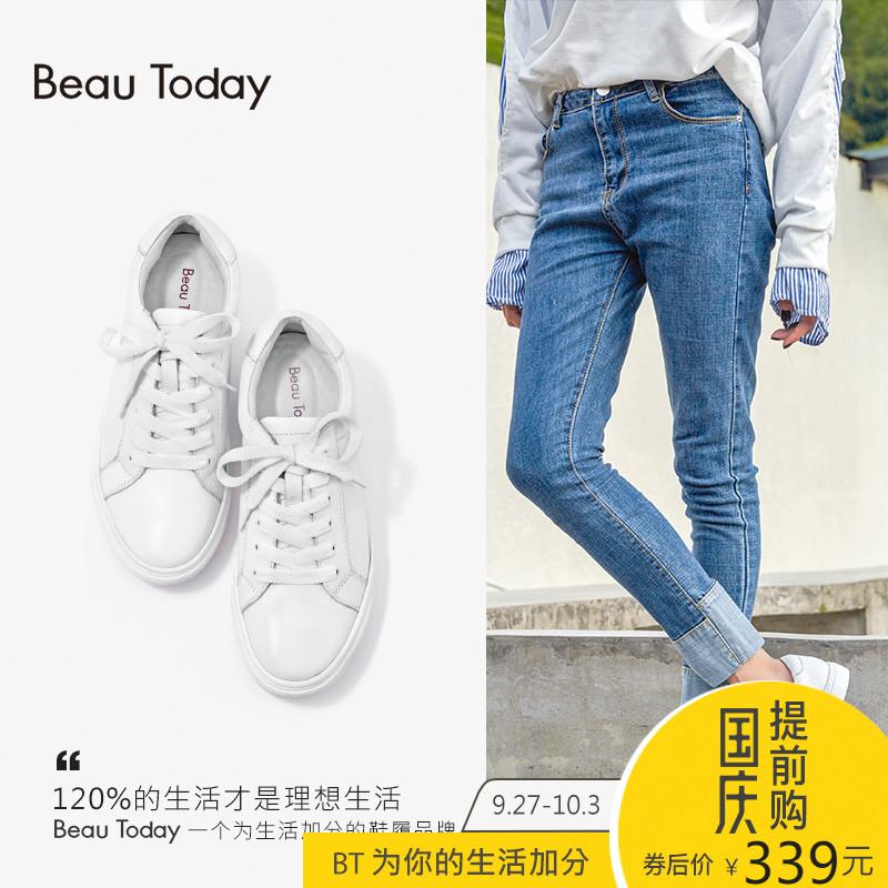 BeauToday小白鞋女真皮系带百搭白色运动鞋女透气英伦风滑板鞋女