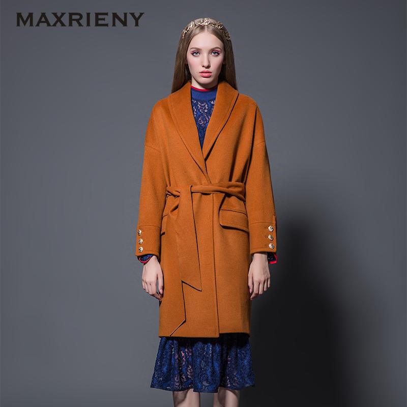 MAXRIENY 秋冬装女大衣收腰保暖呢料纯色系带大衣风衣