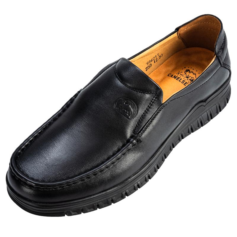 MG CAMEL真皮男鞋秋系带透气圆头英伦百搭男休闲鞋软底中年爸爸鞋