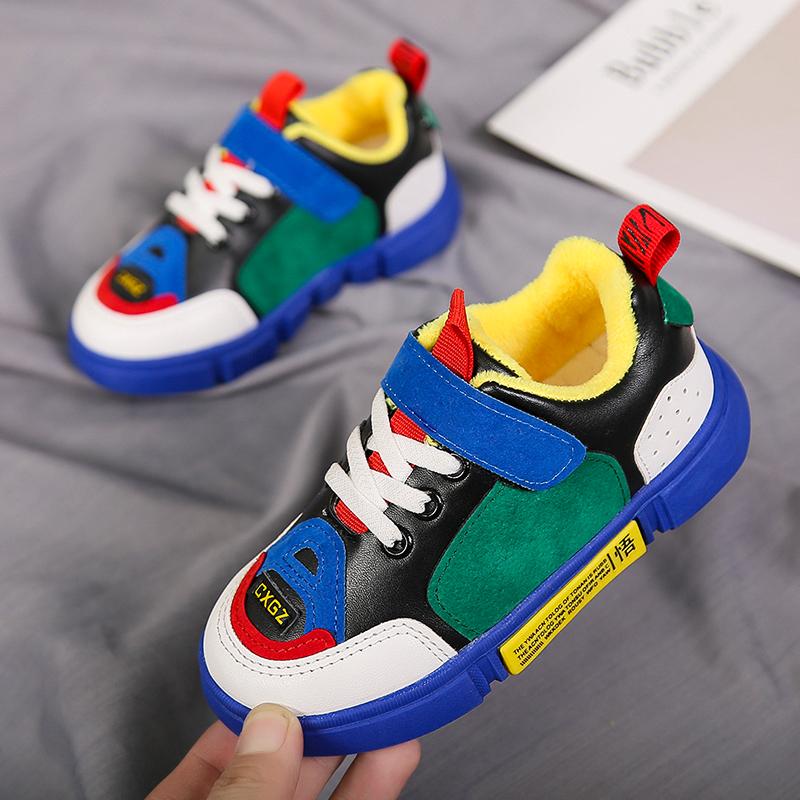 童鞋男童运动鞋秋冬季2018新款韩版二棉加绒加厚棉鞋儿童休闲鞋