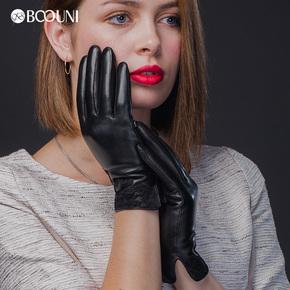 BOOUNI 女款手套开车加厚绵羊皮手套蕾丝刺绣加绒保暖修手秋冬季