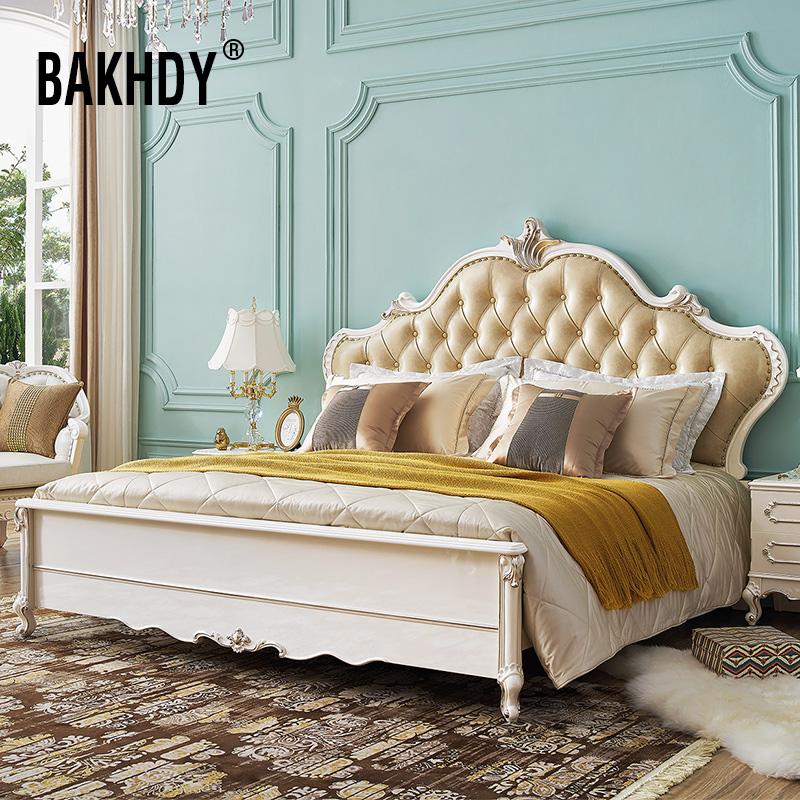 欧式双人床 实木1.8m法式大床主卧室家具真皮床高箱储物结婚床