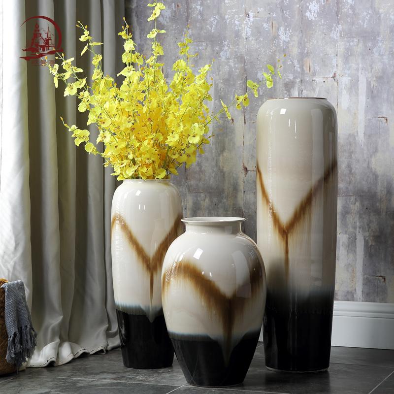 欧式复古陶瓷落地大花瓶 客厅干花花瓶水培富贵竹家居装饰品摆件