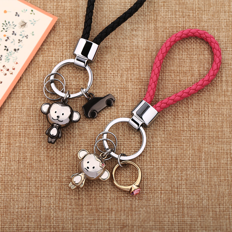 Millers monkey keychain men and women car pendant couple key chain ring Korea cute creative cartoon Meng