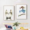 猫和鱼 简约餐厅装饰画北欧猫咪小清新饭厅餐桌挂画现代墙面墙画