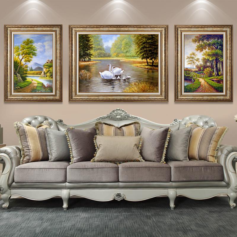 天鹅欧式风景山水客厅三联油画餐厅沙发背景墙装饰画墙上挂画壁画图片