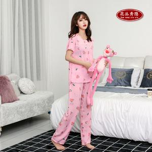 纯棉绸睡衣女套装人造棉宽松大码绵绸夏季冰丝短袖长裤薄款两件套
