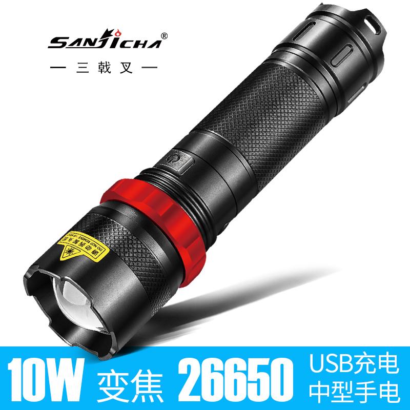 超亮强光手电筒1000可充电防水5000远射迷你变焦1500打猎w家用