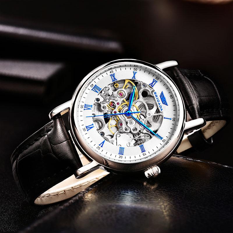 宝茄达正品 男士手表 机械表镂空防水手表真皮带齿轮表
