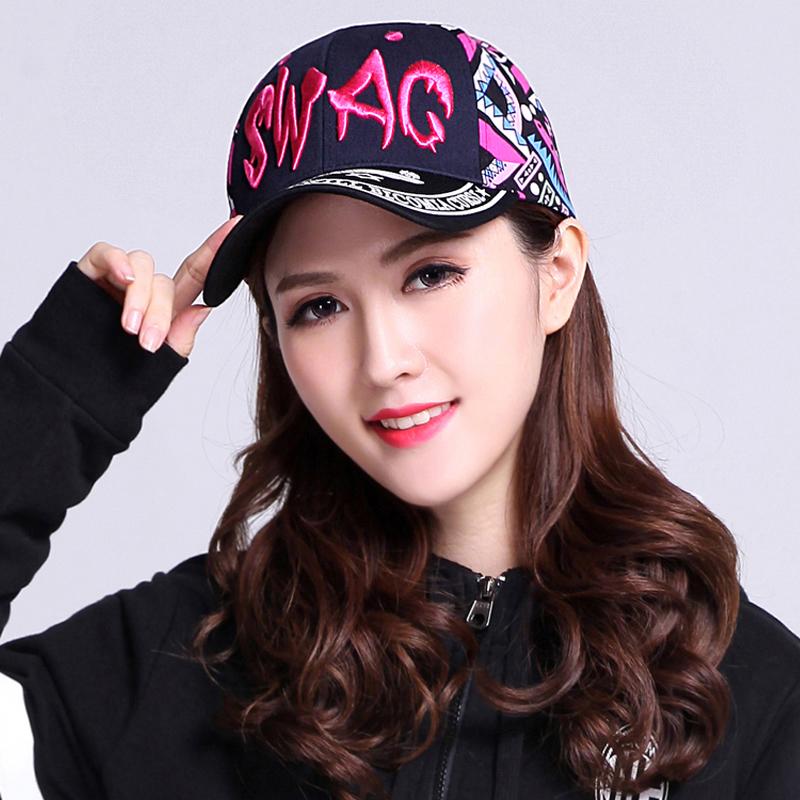 帽子女士夏天韩版潮棒球帽休闲时尚字母刺绣嘻哈街头遮太阳鸭舌帽