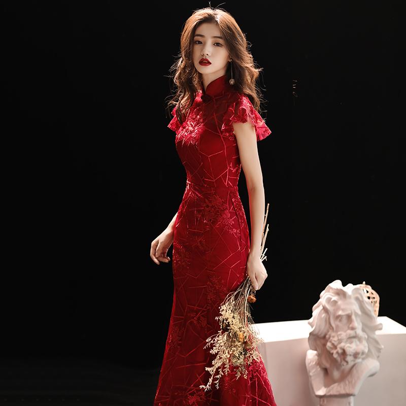 敬酒服新娘2018新款秋季中式鱼尾红色旗袍结婚进酒礼服女修身长款
