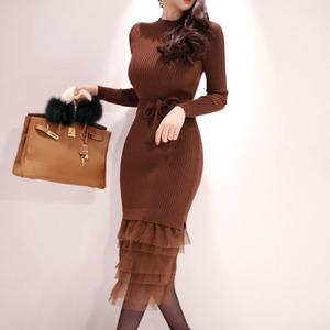 【高档女装】7312#新款韩版修身气质拼接网纱腰带收腰针织包臀毛衣打底连衣裙