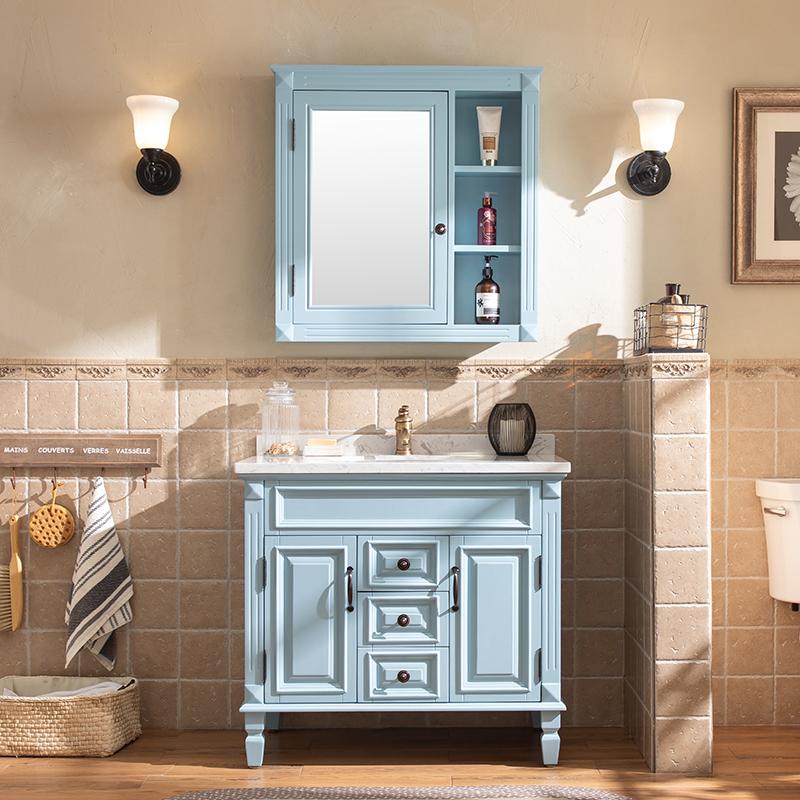 奥卫冠美式浴室柜组合北欧式卫生间洗手盆落地卫浴实木洗漱台脸盆