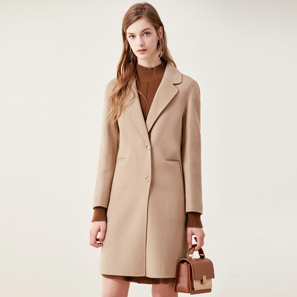珂莱蒂尔双面呢大衣女2019秋冬新款时尚高端毛呢外套K1AHG9106WK
