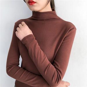 2018秋装新款百搭半高领打底衫修身韩版内搭纯色长袖T恤上衣女装