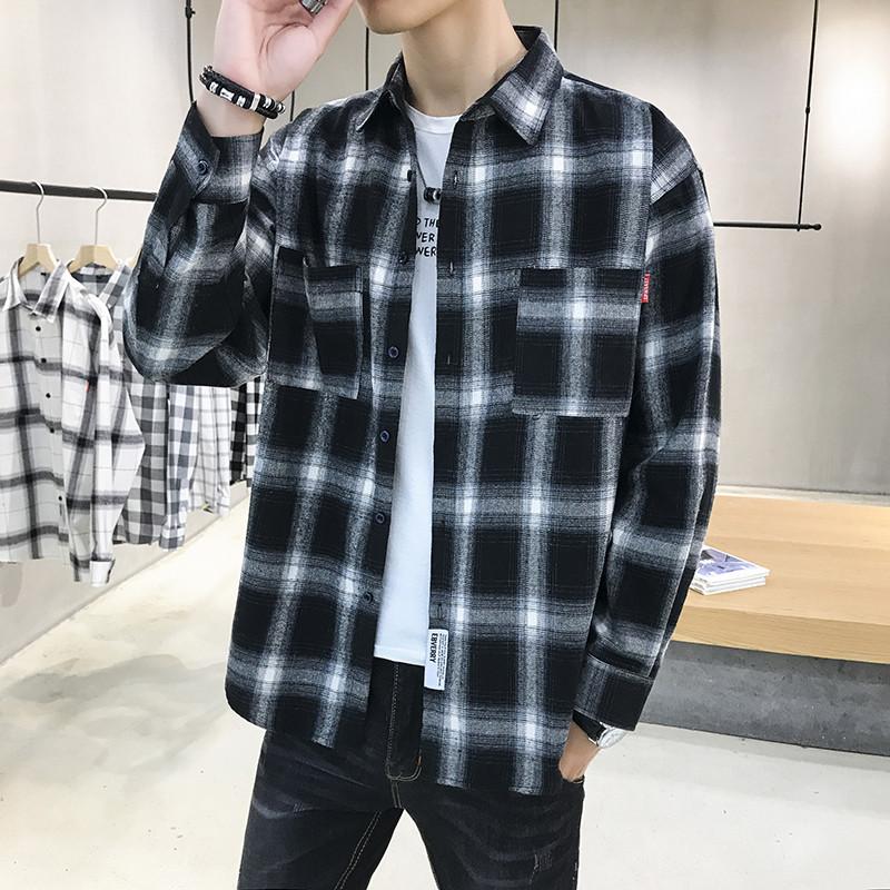 秋季新款格子衬衫男士修身休闲长袖潮流衬衣青少年学生外套男潮牌