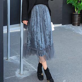 高腰金丝绒网纱裙