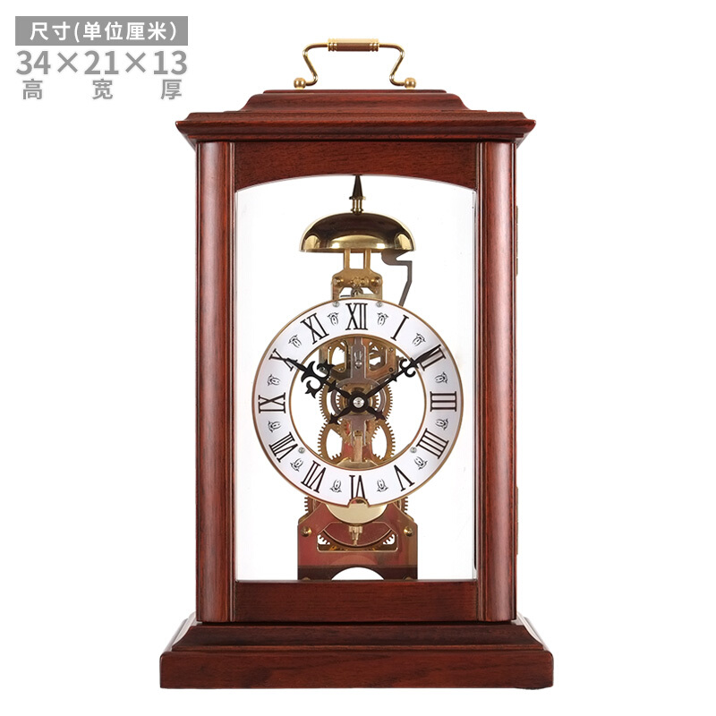 Maple Leaf Mechanical Clock Creative Antique Table Clock Solid Wood  European Vintage Sitting Clock Chinese Style Living Room Luxury Clock