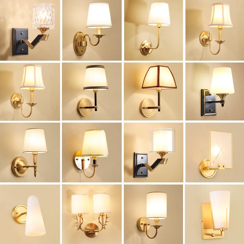 美式乡村全铜壁灯单头纯铜客厅背景墙卧室床头灯简约走廊过道灯具