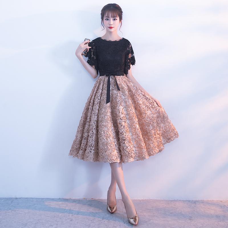 小晚礼服裙女2018新款宴会生日派对高贵优雅主持人中长款学生韩版
