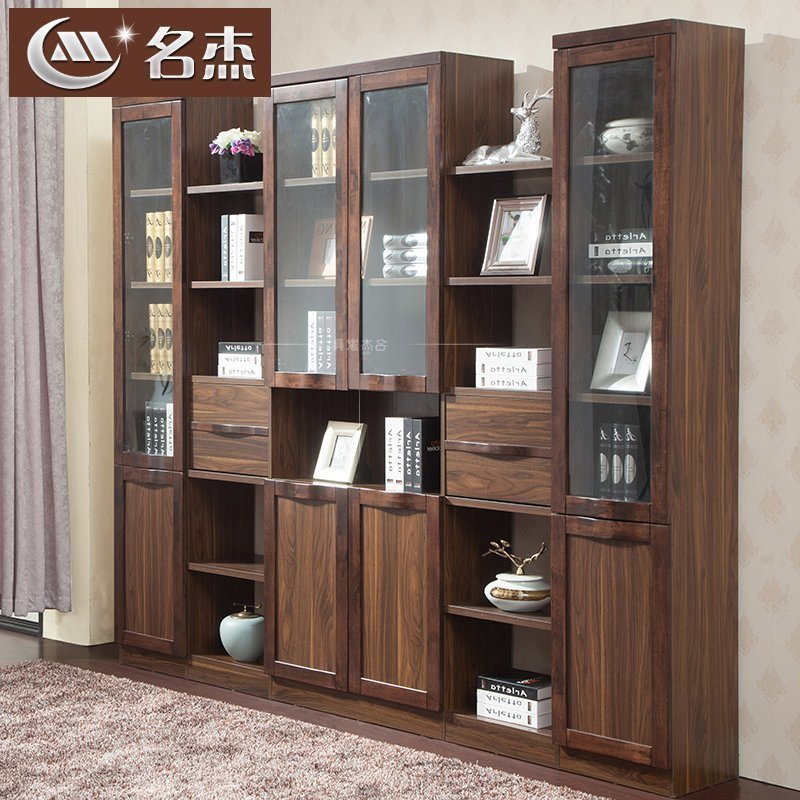 中式实木书柜玻璃门书橱书架自由组合三四五门展厅柜简约书房家具