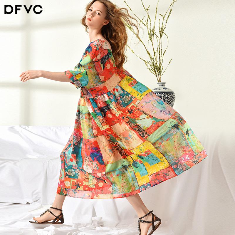 dfvc2018夏季新款欧美宽松苎麻印花连衣裙a字显瘦海边度假沙滩裙