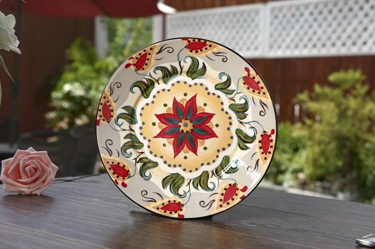 彩绘陶瓷餐具套装欧式手绘陶瓷盘子美克美家个性创意西餐具详情