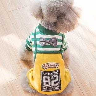 狗狗衣服冬装可爱条纹泰迪四脚衣秋冬比熊博美犬幼犬小狗宠物秋装