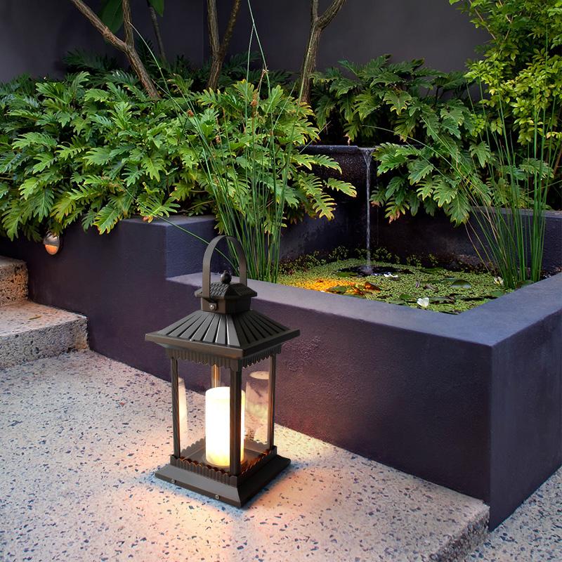 太阳能草坪灯户外防水柱头庭院景观室外家用别墅花园新中式落地灯