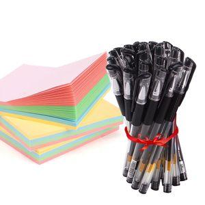 听雨轩60支中性笔学生用0.5mm黑色笔芯办公碳素笔文具用品签字笔水笔批发黑笔红笔子弹头考试水性笔圆珠笔蓝