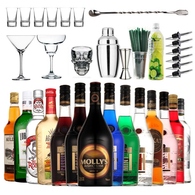 14瓶洋酒组合 调酒鸡尾酒基酒套装龙舌兰酒朗姆酒伏特加酒金酒