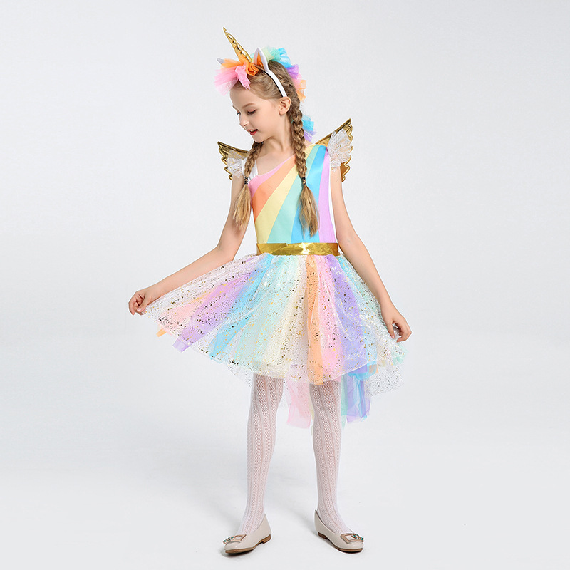 Baby Kids Dresses For Girls Unicorn Party Dress Christmas Dress Rainbow Tulle Children Clothing Halloween Costume 3 4 6 8 Years
