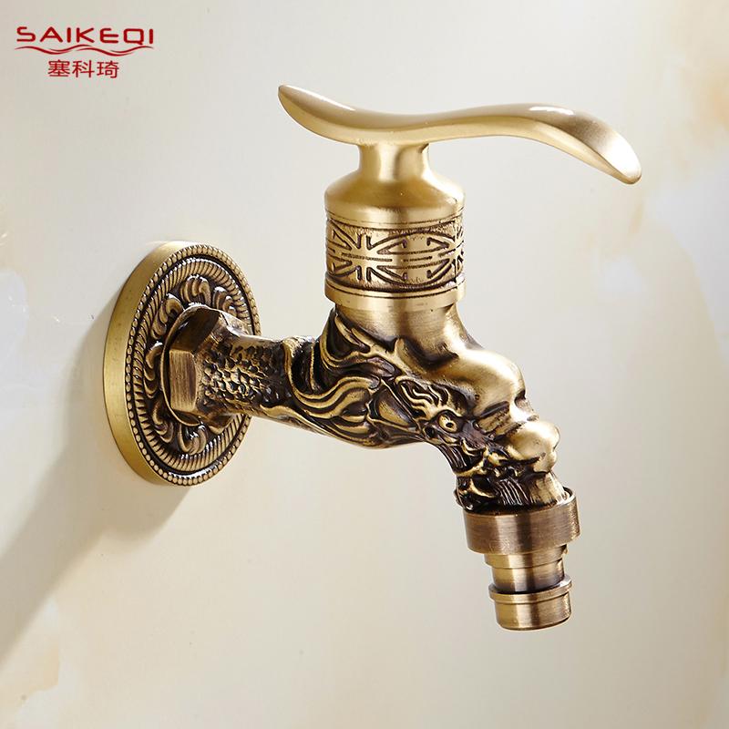 全铜欧式洗衣机龙头仿古拖把池龙头复古快开水嘴加厚单冷水龙头