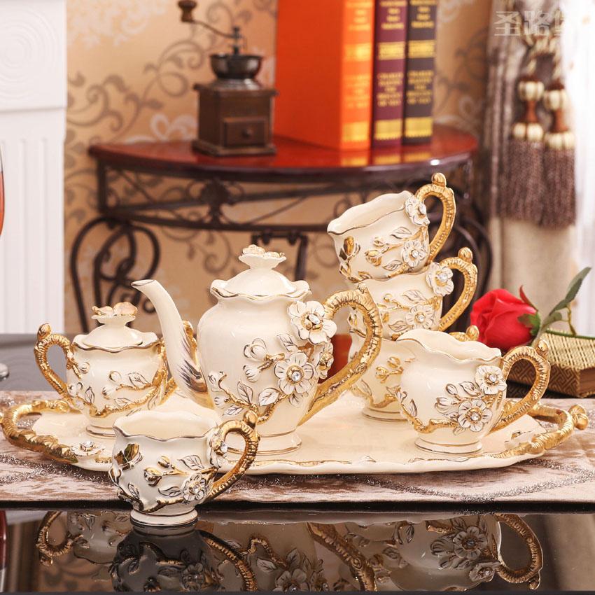 欧式摆件客厅装饰品陶瓷欧式茶具套装创意新婚礼品送闺蜜结婚礼物
