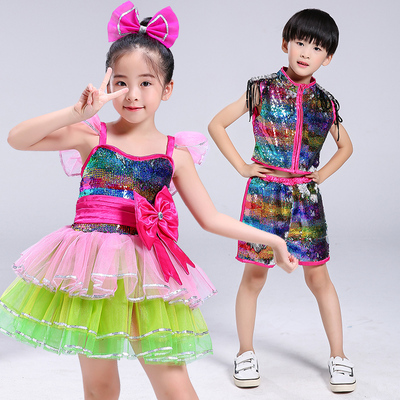 Children's Jazz Sequins Dance Dress Girl Princess Pengpeng Skirt Performance Dress Primary and Secondary School Students Chorus Dress