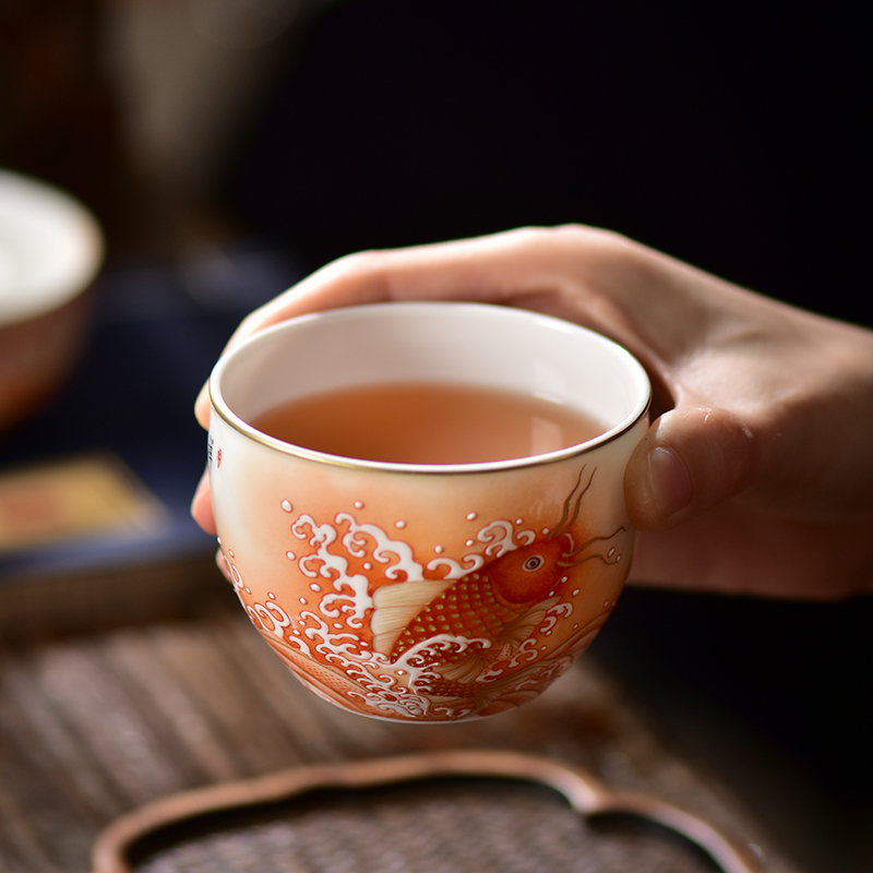 Alum red paint master CPU high - end jingdezhen manual led gifts ceramic dragon cylinder cups large sample tea cup