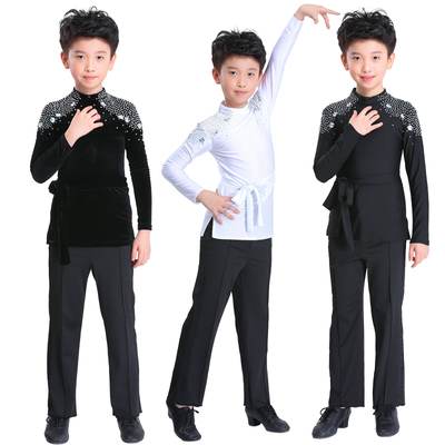 Boys Latin Dance Dress Grade Examination Professional Dance Dress Children's Long Sleeve Performance Competition Suit