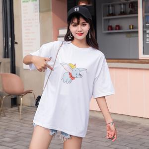 超火cec短袖白色t恤女学生韩版宽松中长款明星同款小飞象体恤上衣