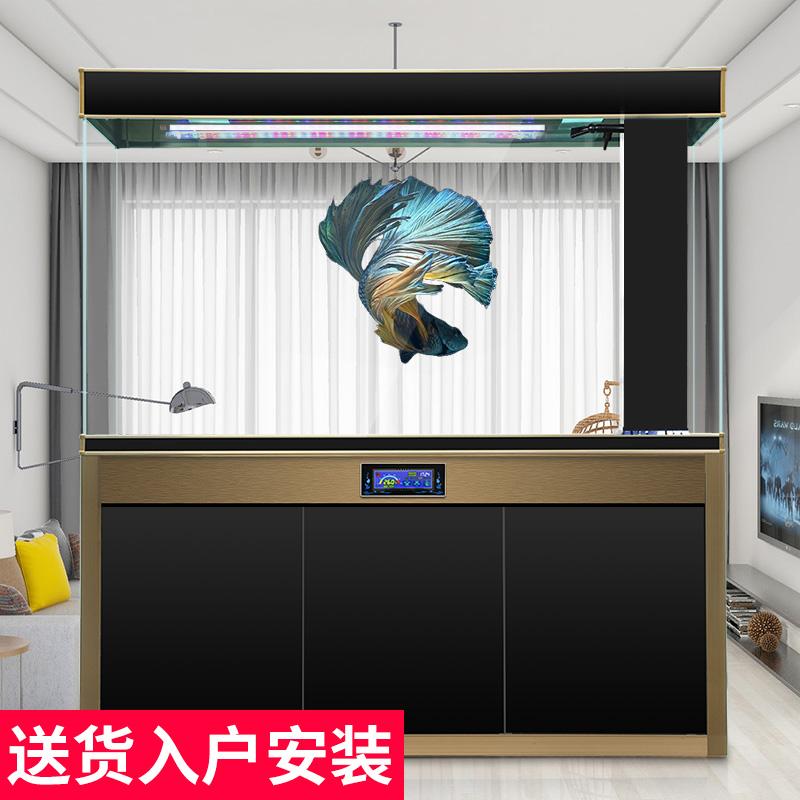 迪顺大型超白鱼缸水族箱客厅玻璃龙鱼缸免换水长方形1.8米底滤
