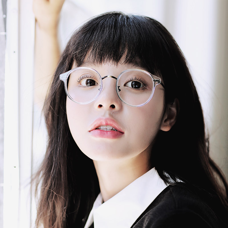 文艺透明圆形眼镜框女潮金属大框眼镜架复古原宿风大脸配近视镜男