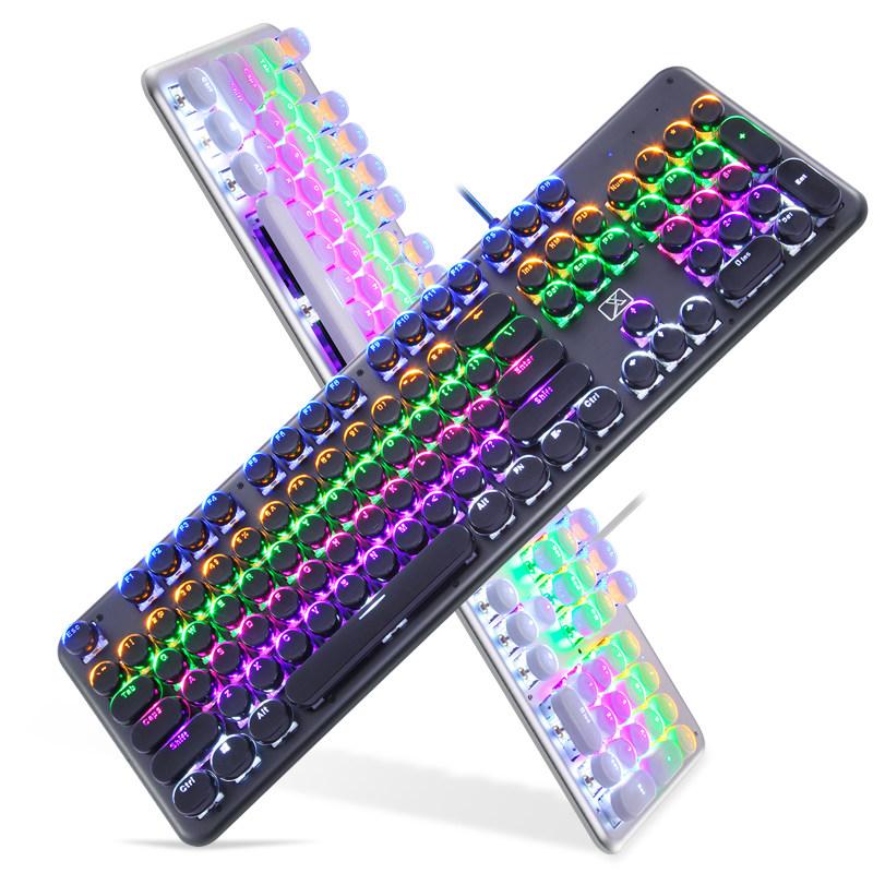 新盟游戏机械键盘台式电脑笔记本电竞有线朋克水晶复古电镀圆形绝地求生吃鸡单手USB吃鸡金属青轴网吧咖女生