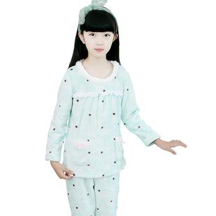 女童睡衣秋冬珊瑚绒儿童家居服小女孩冬季长袖法兰绒宝宝套装大童