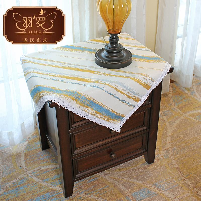 羽罗 条纹床头柜盖布北欧桌布欧式美式冰箱洗衣机电视机防尘罩