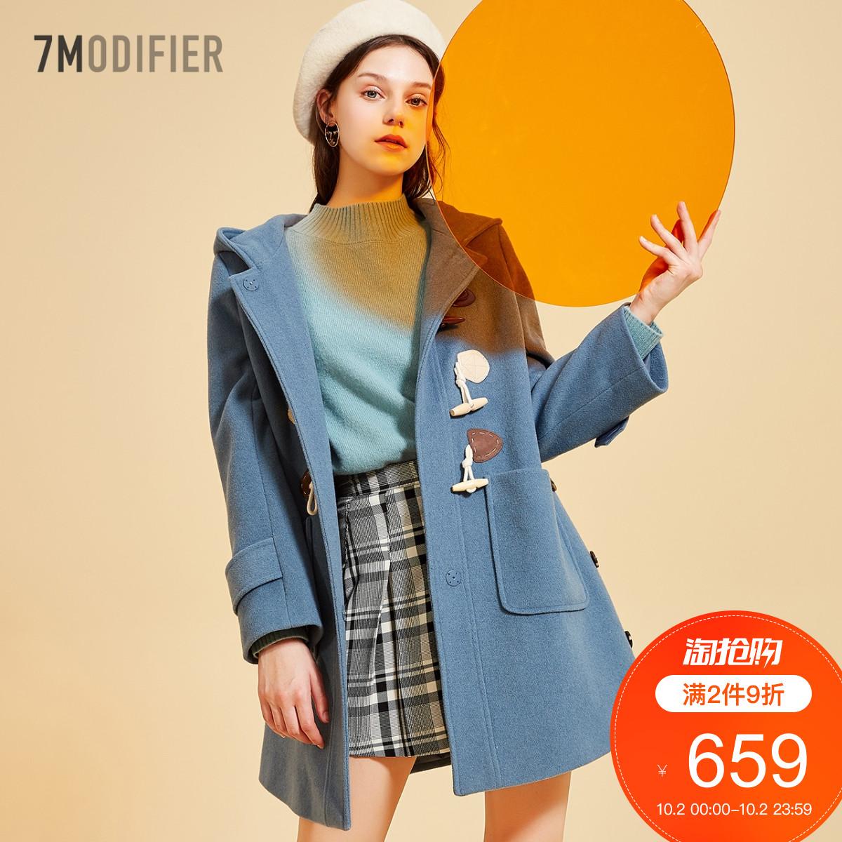 毛呢外套女2018秋冬季新款韩版中长学生宽松牛角扣羊毛双面呢大衣