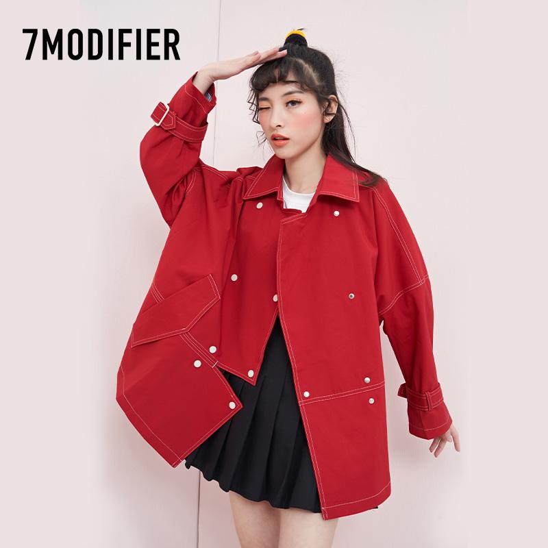 7M拉夏贝尔2021春季新款韩版风衣女短款宽松气质潮流百搭风衣外套