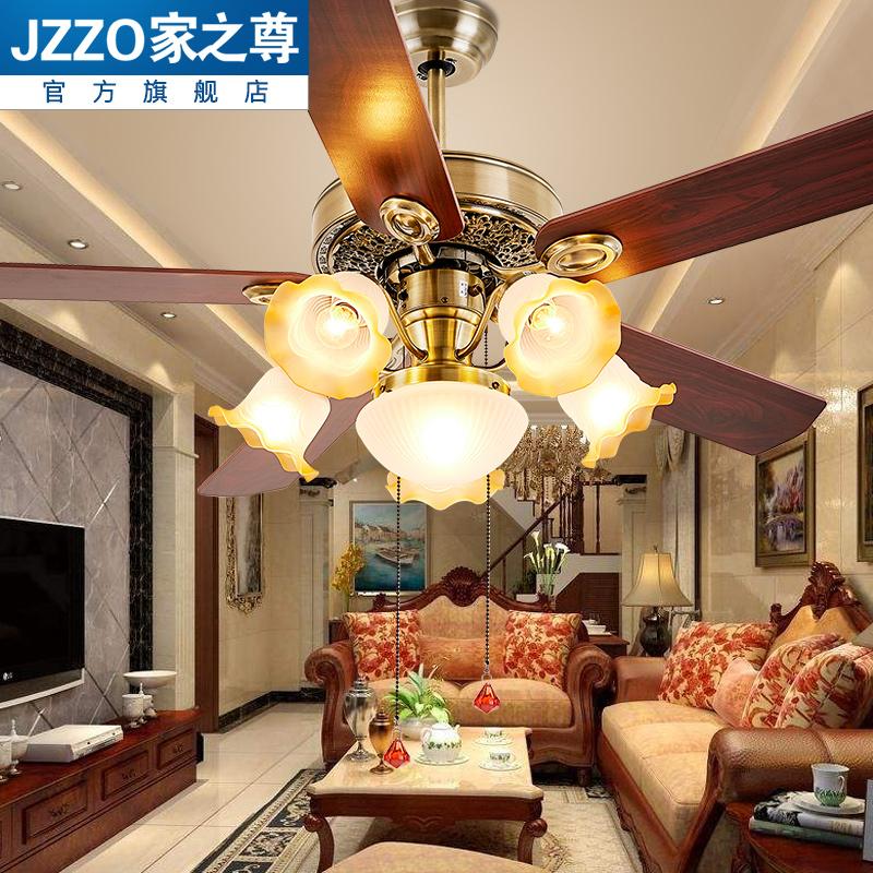 欧式风扇灯餐厅吊扇灯客厅卧室家用带电风扇吊灯简约美式静音遥控