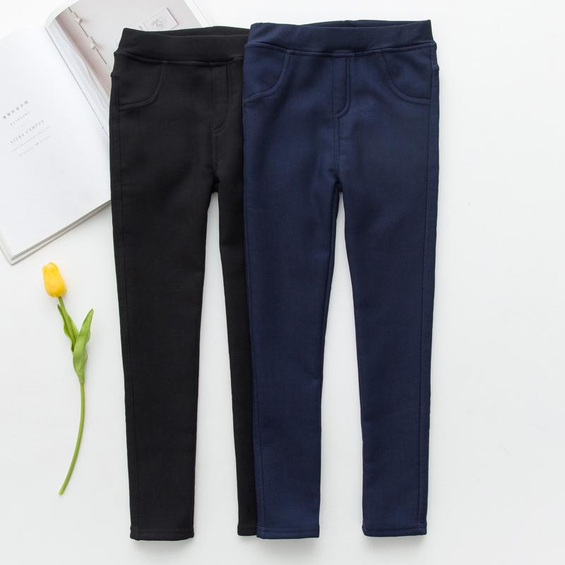 女童裤子加绒加厚2018秋冬季新款儿童仿牛仔铅笔裤修身外穿打底裤