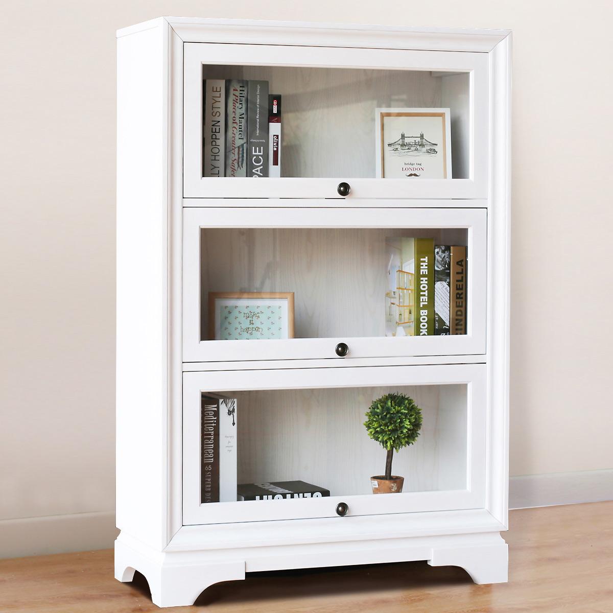 鑫富士实木书柜书房带玻璃门三层书架环保置物架展示柜