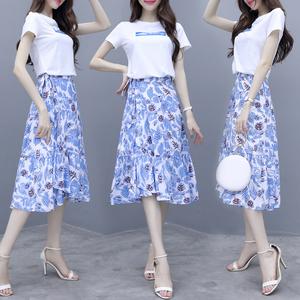 【高檔女裝】實拍魚尾裙套裝小個子氣質很仙的網紅T恤女神半身裙...