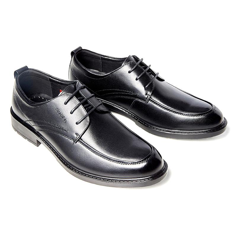 奥康 头层牛皮英伦风 系带真皮商务皮鞋
